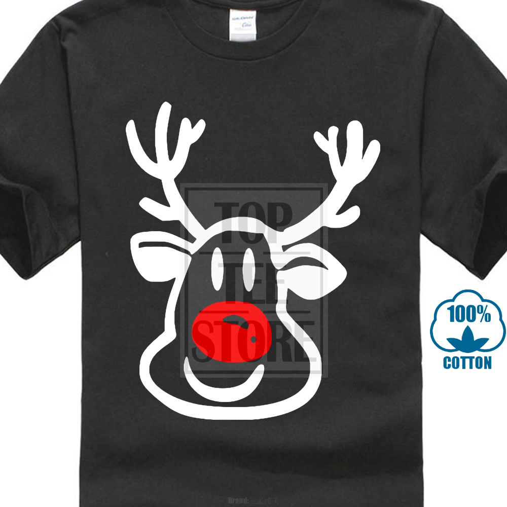 3D Printed T-Shirts Christmas Deer Reindeer Head with Horn and Santa Hat Short S