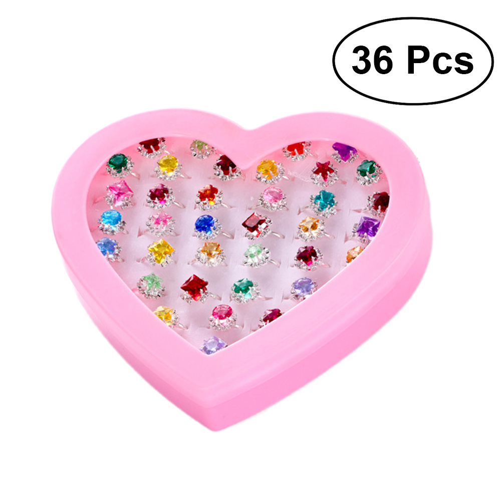 Children's Toys Rings Jewelry Princess Box Jewelry Little Girl Jewel Rings in Box Pretend Play and Dress Up Rings