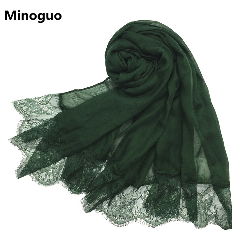 High Quality Soft Cotton Lace Corners Scarf Hijab SHAWL MAXI SARONG