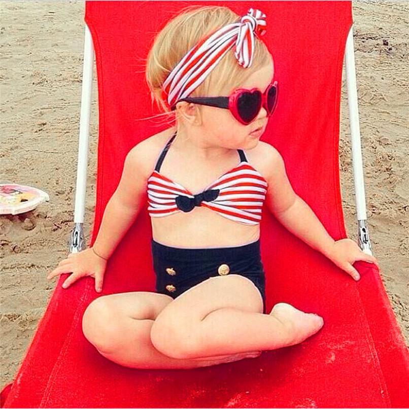 3Pcs Baby Girl Swimwear Infant Kids Baby Girls Straps Bow Tops+Button Shorts+Headband Swimwear Beach Swimsuit Bathing Set M8Y17 (2)