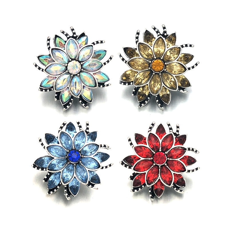 10pcs Metal Crystal Flower Buttons Jewelry Making Findings Accessories 25mm