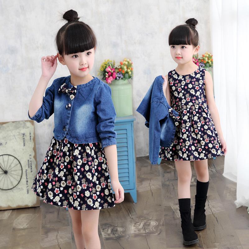 Baby Girls Clothing Spring/autumn Explosion Models Girls Suit Fashion Denim Jacket + Flower Dress Two-piece Sweet Princess Dress Y190516