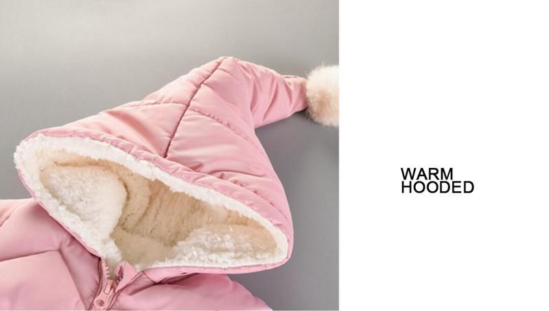 CROAL CHERIE 60-100cm Baby Winter Girls Boys Clothes Warm Fleece Velvet Newborn Baby Romper Infant Costume Pink Sky Blue (3)