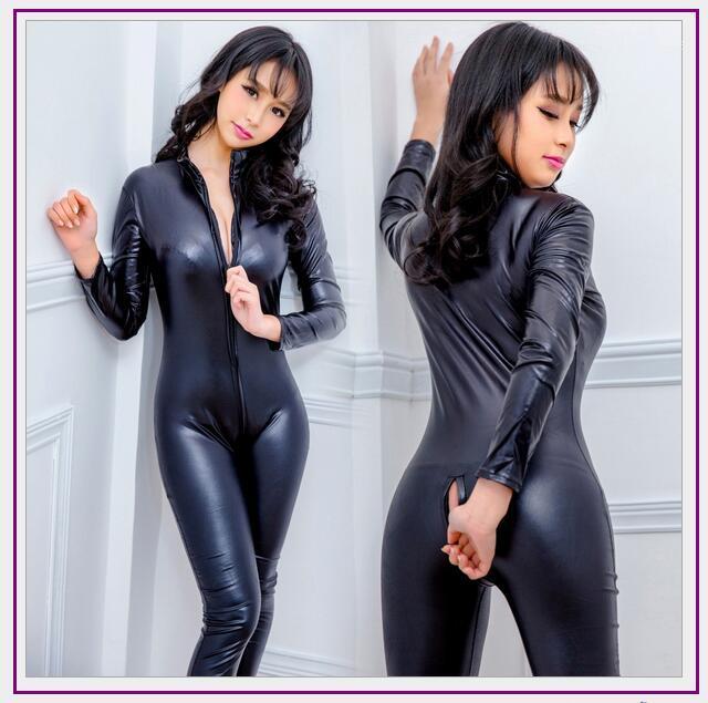YiZYiF Womens Wetlook PVC Leather High Collar Long Sleeves Teddy Bodysuit Catsuit Nightwear Clubwear