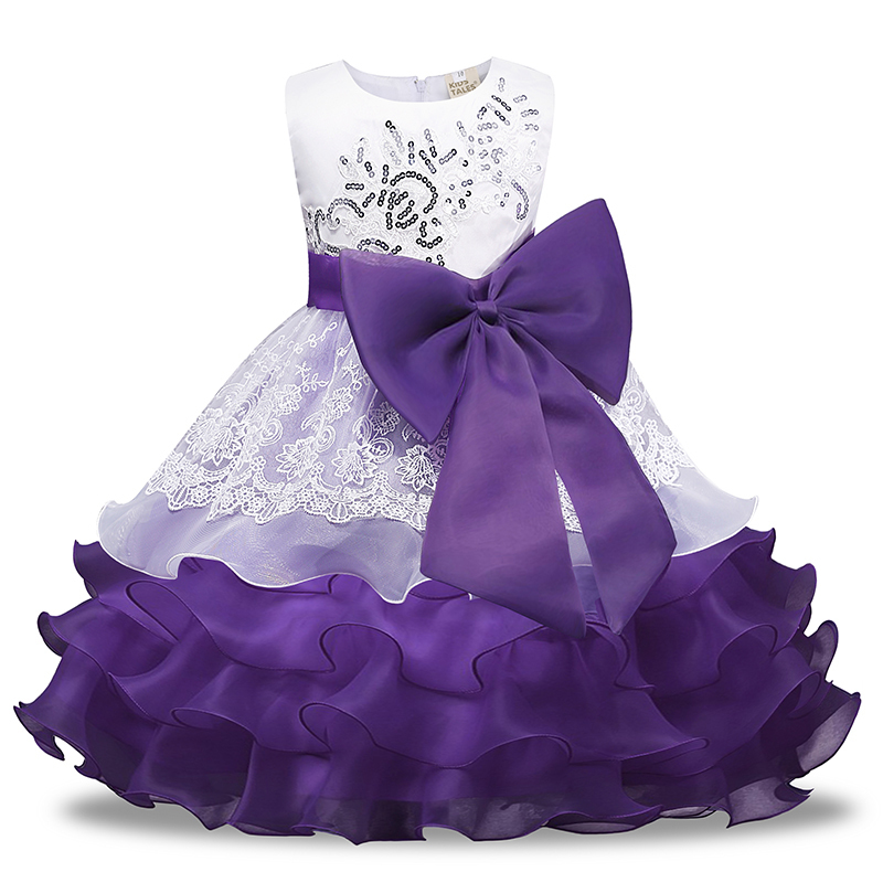 sleeveless gown princess dress with bow sequins voile children dress evening party costume 2019 3-7Y kid girl wedding clothes