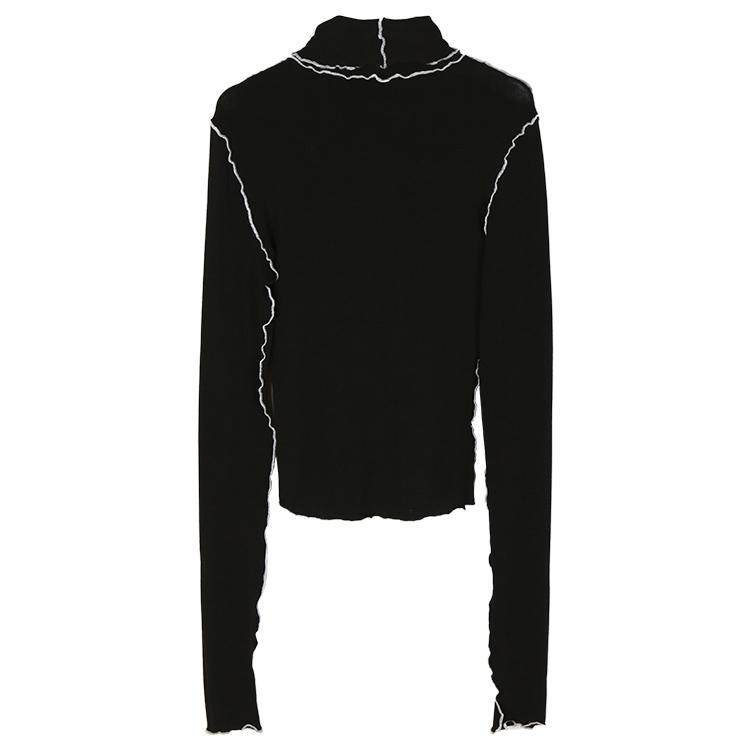 Getsring Camiseta para mujer Camisa de otoño Camiseta de cuello alto Camiseta ajustada de manga larga Blanco Negro Invierno Tamaño largo libre Tamaño de las mujeres que tocan J190427
