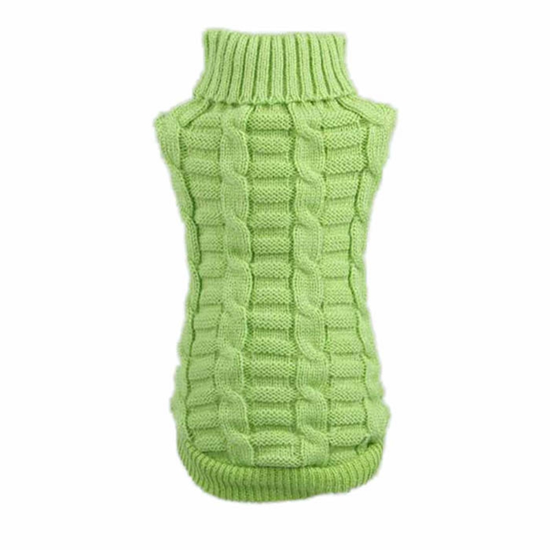 DELEY Miniature Knitted Pet Cat Dog Warm Jumper Sweater Puppy Knitwear Coat Apparel Clothes Green XS