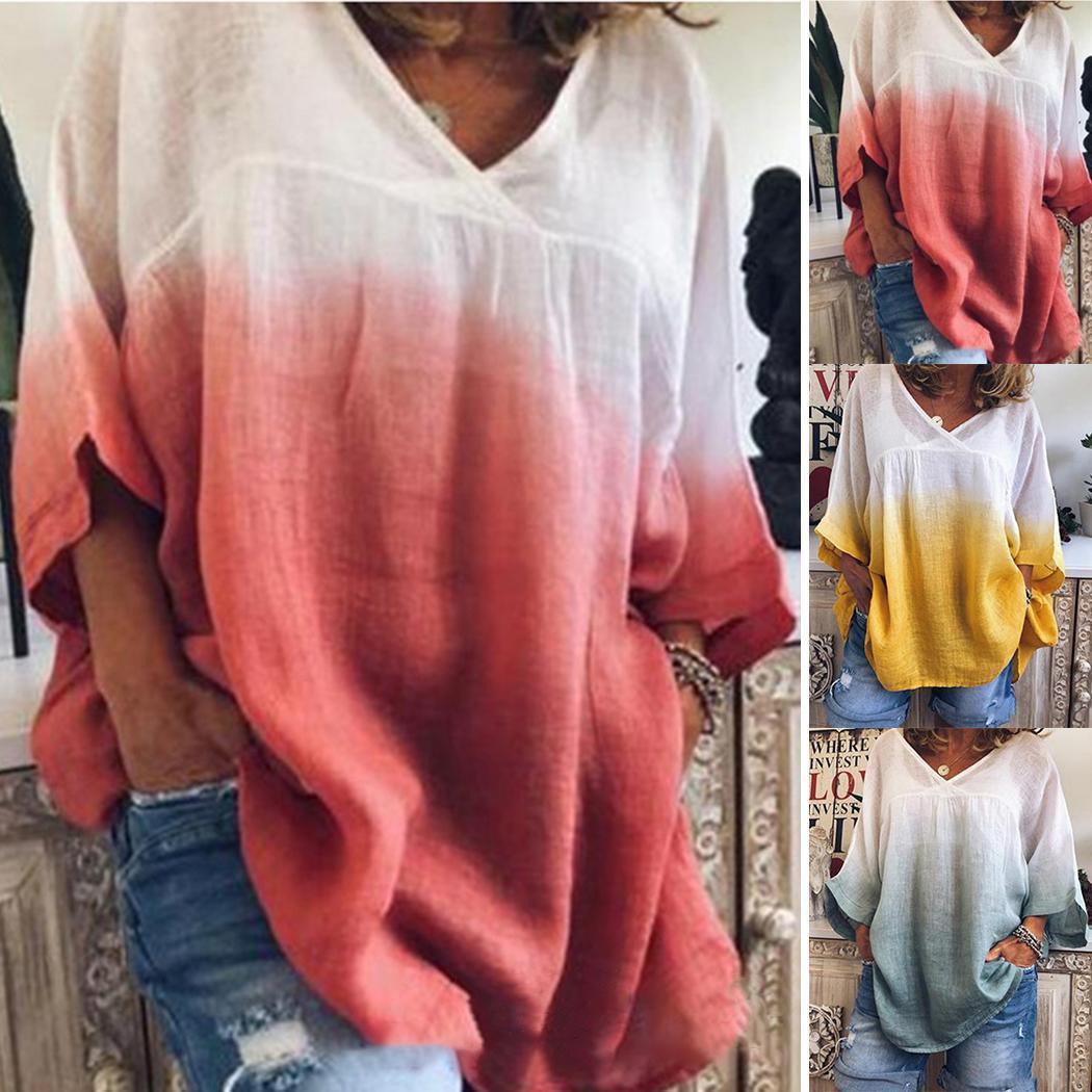 Moda nuova nuova moda donna casual scollo av manica 3/e sfumato t-shirt allentata moda donna t-shirt colore sfumato