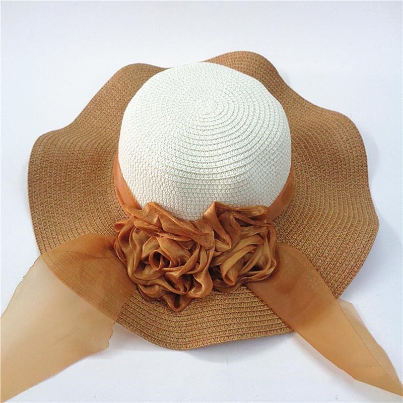Fashion Straw Hat Flower Ribbon Summer Beach Wide Brim Fisherman Sunscreen Folding Hand Made Casual Wave Girls Hats CP0238 (4)
