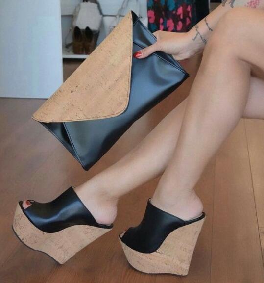 Rontic Neue Frauen Plateau Pantoletten Sandalen Sexy Keile High Heels Sandalen Offene spitze Elegante Schwarze Partei Schuhe Frauen US Plus Größe 5-15