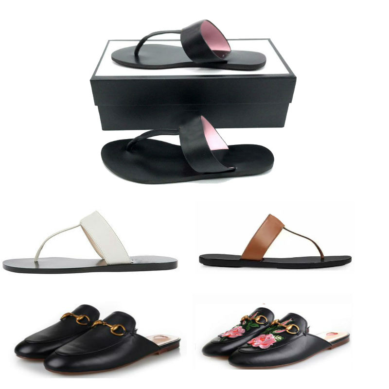 Designer shoes buckle Leather sandals princetown shoes flower bee tiger with box Flats Sandals Shoes Slip-on Slippers Flip Flops Beach Flats