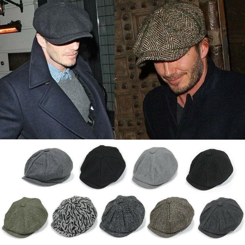 New Ivy Sun Flat Cap Herringbone Hat Gatsby Newsboy Cabbie Elastic Men Coffee TR