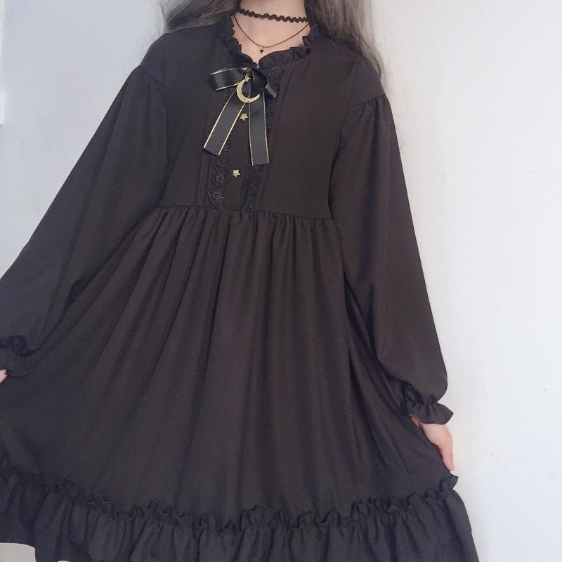 Japon Harajuku Kadınlar Siyah Ruffles Elbise Fener Kollu Lolita Stil öğrencinin Elbise Tatlı Kawaii Sevimli Yay Kız Şifon Elbise Y19050905