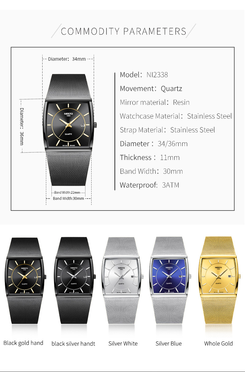 Factory Direct Sales Luxury Luminous Men`s Waterproof Watch NIBOSI Quartz European Style Unique New Square Stainless Steel Watch (6)