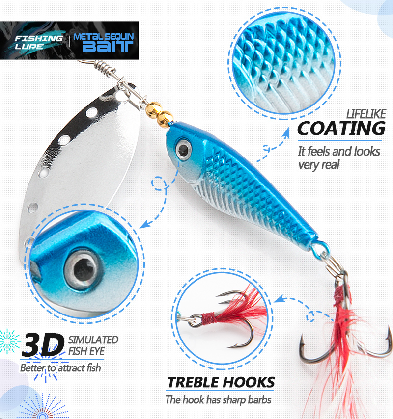 DONQL Spinner Metal Spoon Fishing Lure 13g 16g Sequin Artificial Wobbler Fishing Bait With Strong Treble Hooks Mepps Lures (12)
