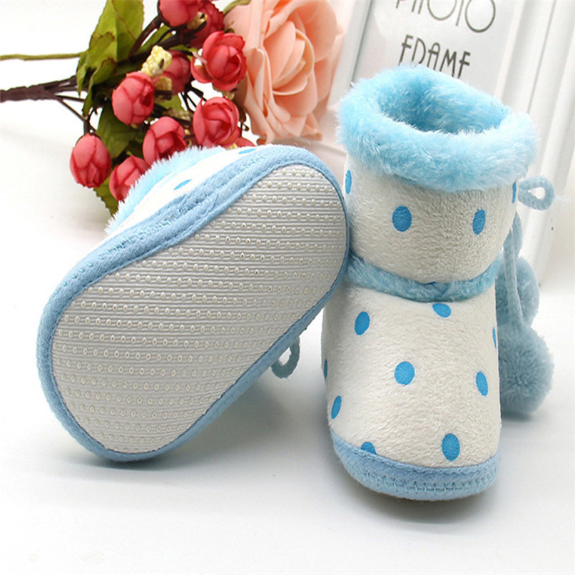 1 Pair Baby Girl Boots Baby Girl Dot Printed Bowknot Soft Sole Snow Boots Soft Crib Shoes Toddler winter Boots bota infantil D10 (7)