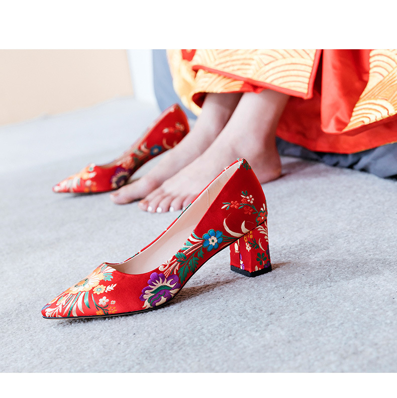 Red Womens Chinese Style Embroidered Flowers Satin Bride Wedding Flat HeeL Shoes