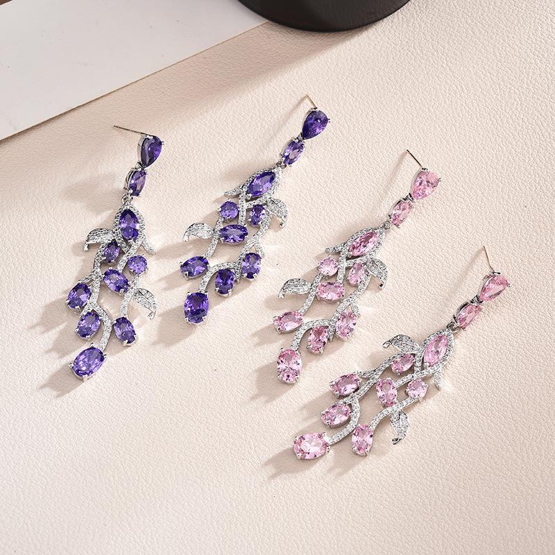 Boucles d'oreilles en cristal violet Feuilles pour les femmes Nouveau bijoux de mariage de luxe d'argent à long pendnat Boucle d'oreille Livraison gratuite