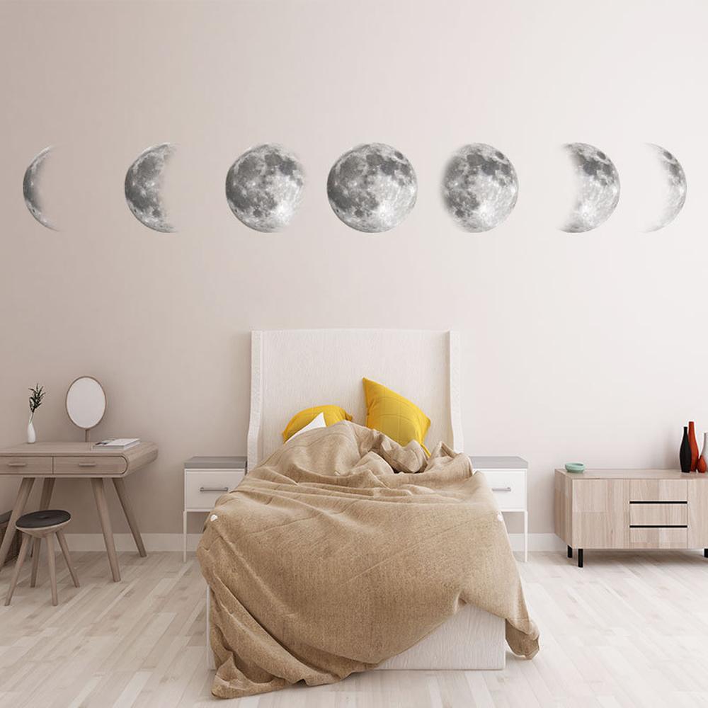 Círculo Lunares 100 un Oro Plata Espejo Pared Calcomanía Adhesivo Decoración Arte Dormitorio