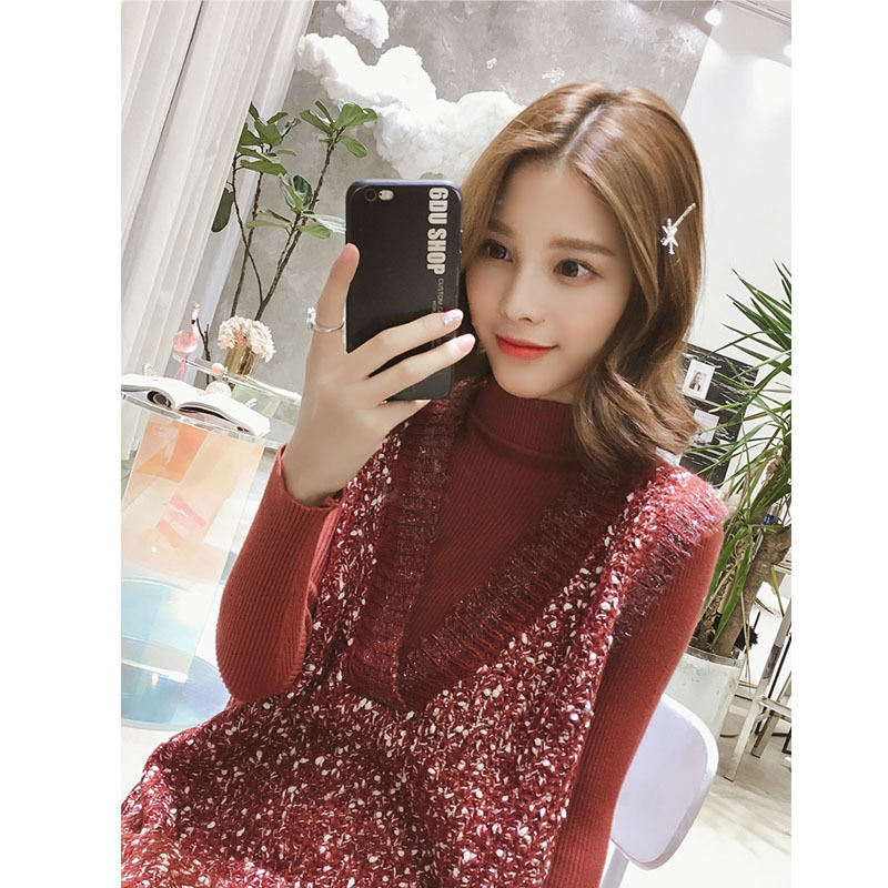 Love2019 Pattern Half High Knitting Rendering Unlined Upper Garment + Bright Silk V Lead Vest Suit Woman Sweater Network Red Twinset