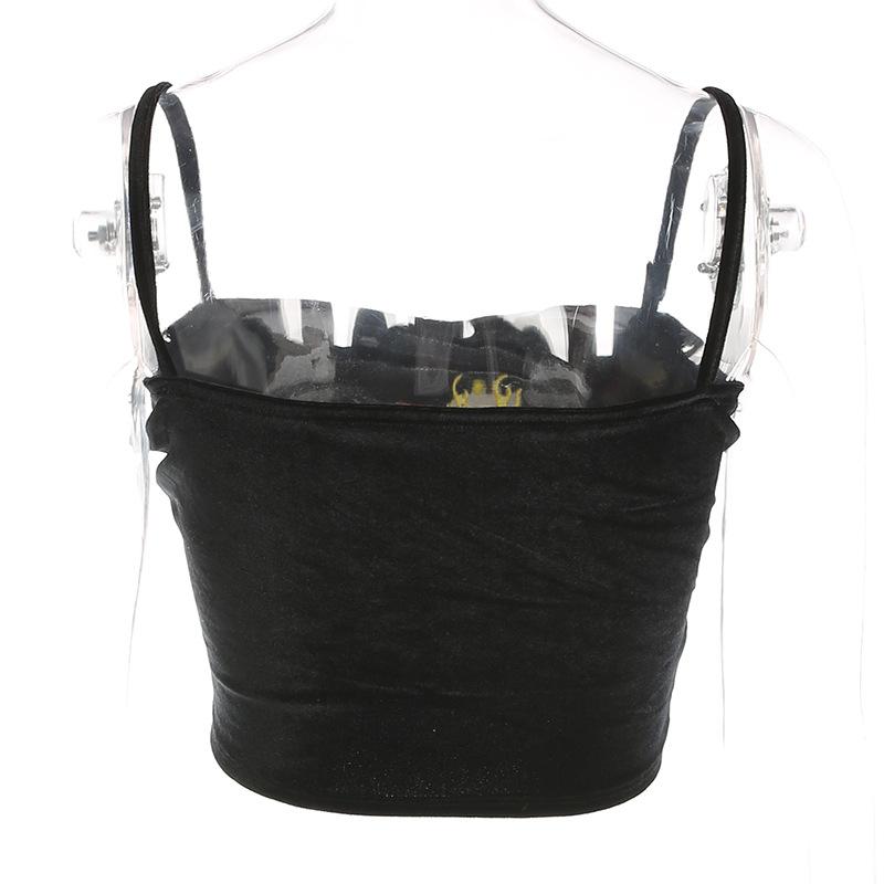 Мода Ремень Черный Велюр Crop Top Camis Короткое Сердце Пламя Вышивка Сексуальные Топы Обрезанные Одежда 2019 Лето Топ Продажа