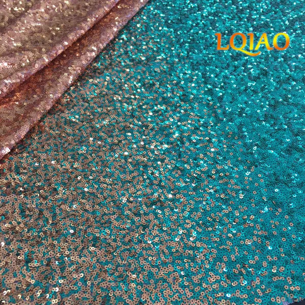 Green Gold Sequin Fabric-006