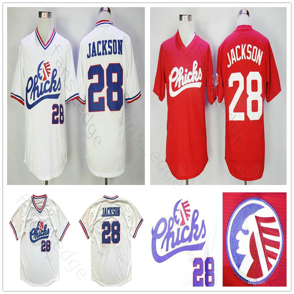 Mens Moive Memphis Chicks #28 Bo Jackson Baseball Jersey Cheap Red White Memphis Chicks Bo Jackson Stitched Baseball Shirts