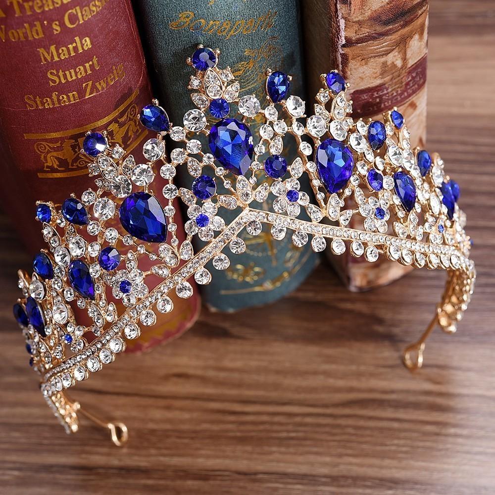 IFUMUD 4 Zoll Herzförmige Volle Runde Kronen Hochzeit Braut Brautjungfer Prom Party Wassertropfen Kristall Strass Tiara Krone C19040101