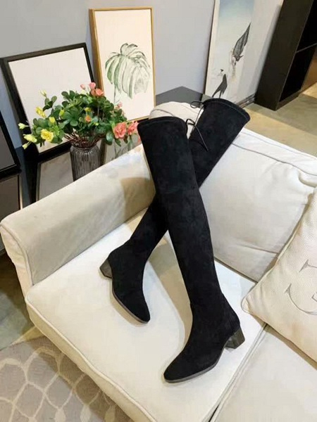 Fall/winter 2019 new Christmas knee-high ladies women boots leather large size low heel fashion boots shoes winter