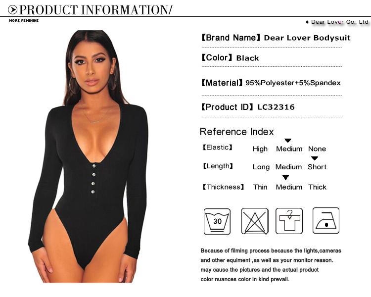 ee71b729ada6 2019 New Ribbed Knitted Sexy Bodysuit Women Black V Neck Autumn Slim ...