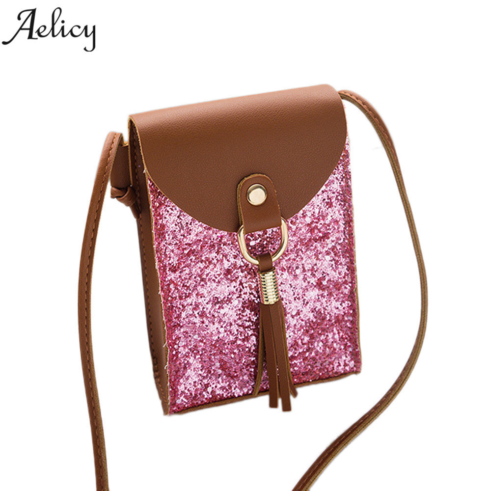 Cheap Fashion Aelicy High quality Women Fashion Sequins Tassels Cover Crossbody Bag Shoulder Bag Phone Bag bolsa feminina