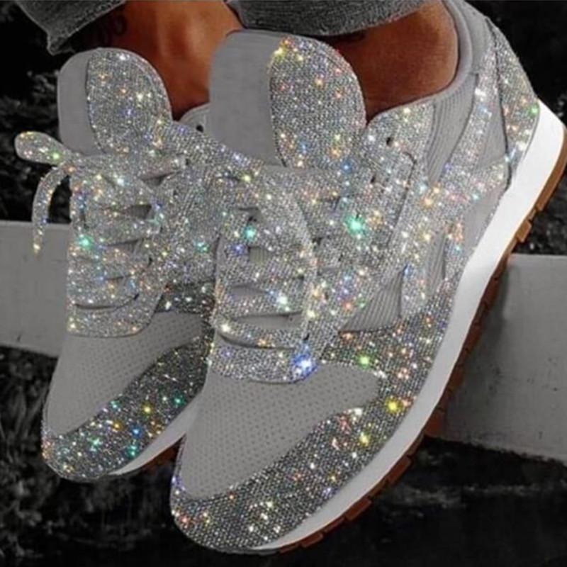 De haute qualité à bas prix Femmes Chaussures en cuir de luxe de Sneaker bas en haut Courir avec Formateurs Paillettes Automne Casual Shoes Taille Big