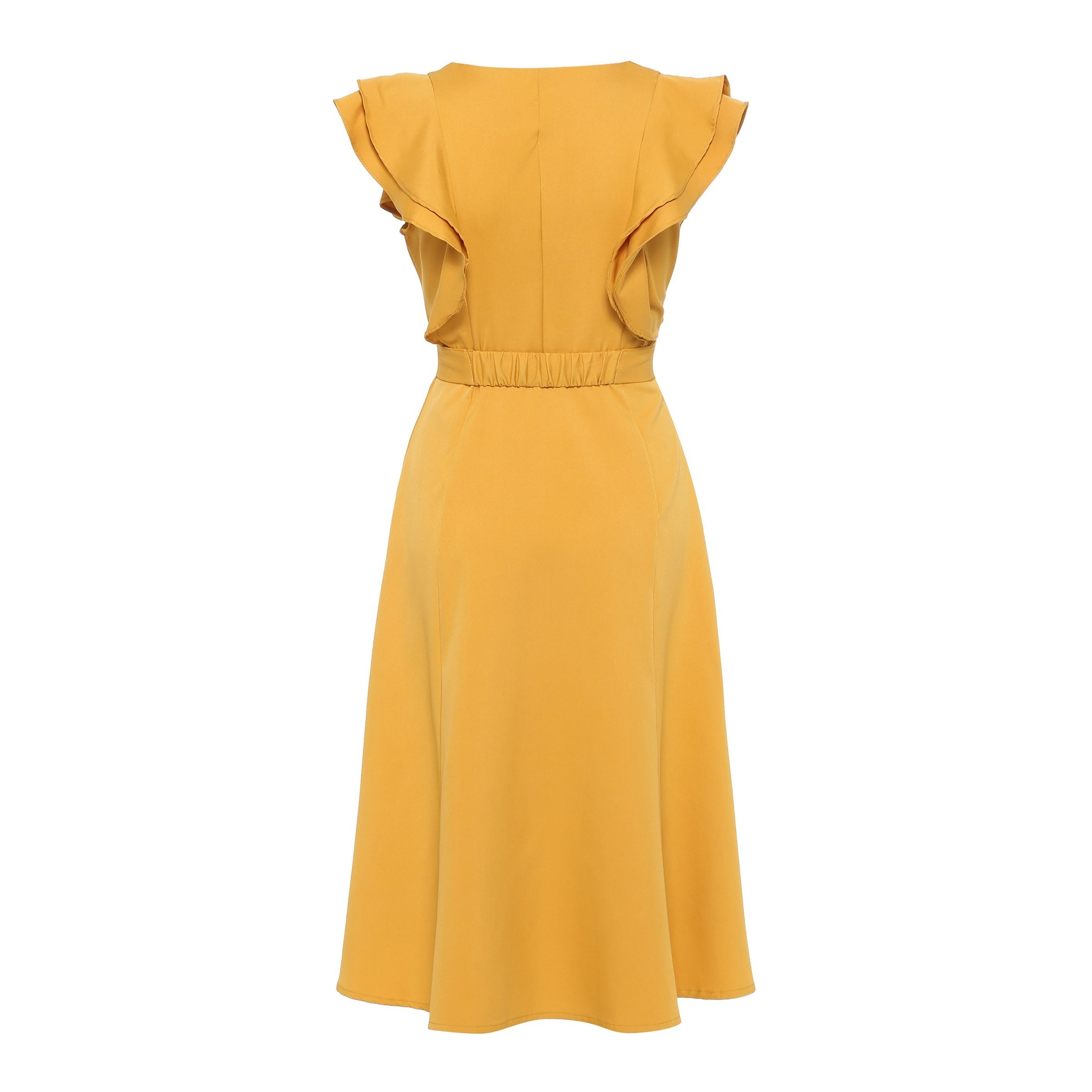 Kinikiss Yellow Women Pleated Sleeveless Wave Cut Lace-up Sweet Party Summer Double-layer Elegant Vintage Dress Q190510