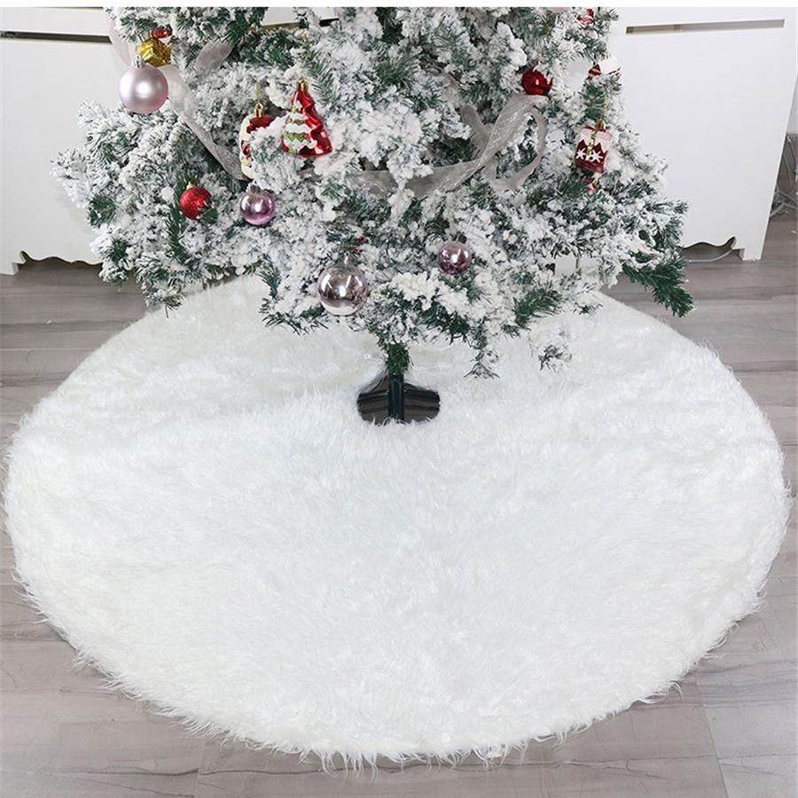 Jupe de sapin 122cm blanche Jupe de sapin de No/ël en fausse fourrure Jupes de sapin blanches pour d/écorations de No/ël