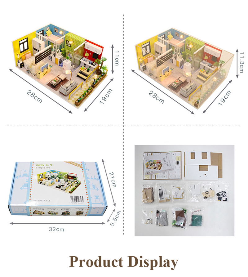 3D DIY Miniature Dollhouse Loft Building Model Wooden Handmade Dollhouses Assemble Kits Doll House with Furnitures Toys (4)