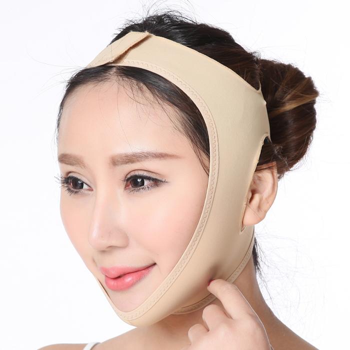 Benda facciale Maschera facciale per cintura dimagrante a V Collo sottile Cura della pelle Lifting contro doppio mento rosa rossa