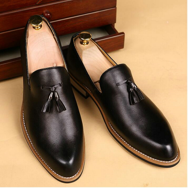 2021 Size 38-47 England Leather Loafers Pointed Men dress shoes oxford wedding male formal shoes A53-65