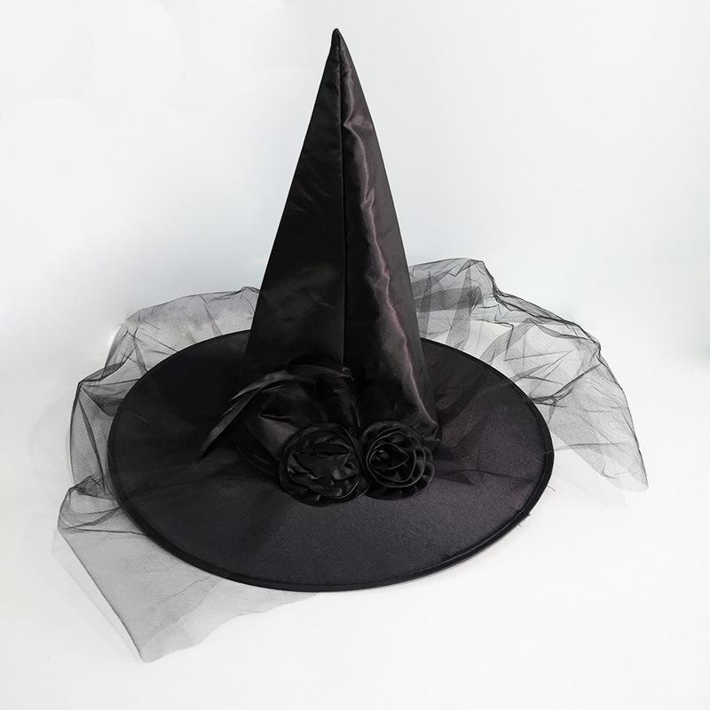 Adulto strega PIUME /& Fiori Cappello NERO Halloween Horror tema Fancy Dress