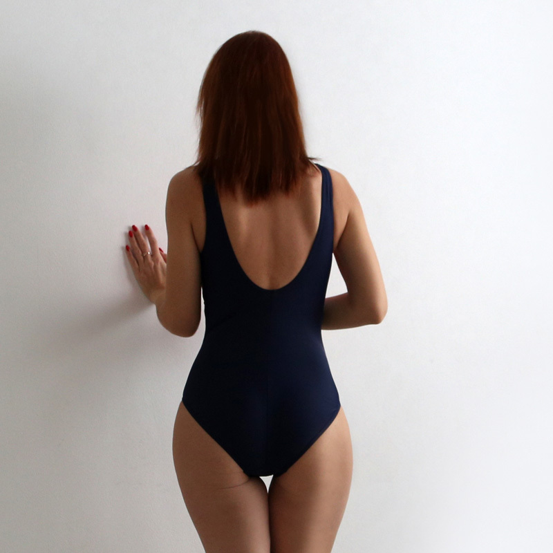 Riseado One Piece Sport Swimwear Training Swimsuit Patchwork Swimming For Women Bathing Suits Q190524