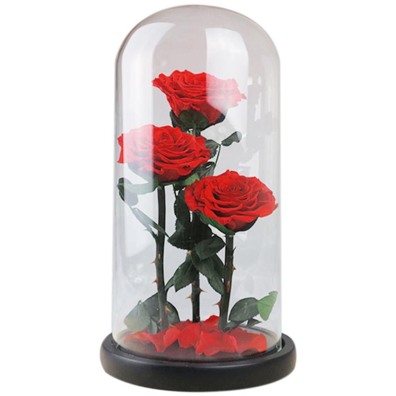 Hot Forever Rose Flower Festive Preserved Immortal Fresh Rose in Glass Gift
