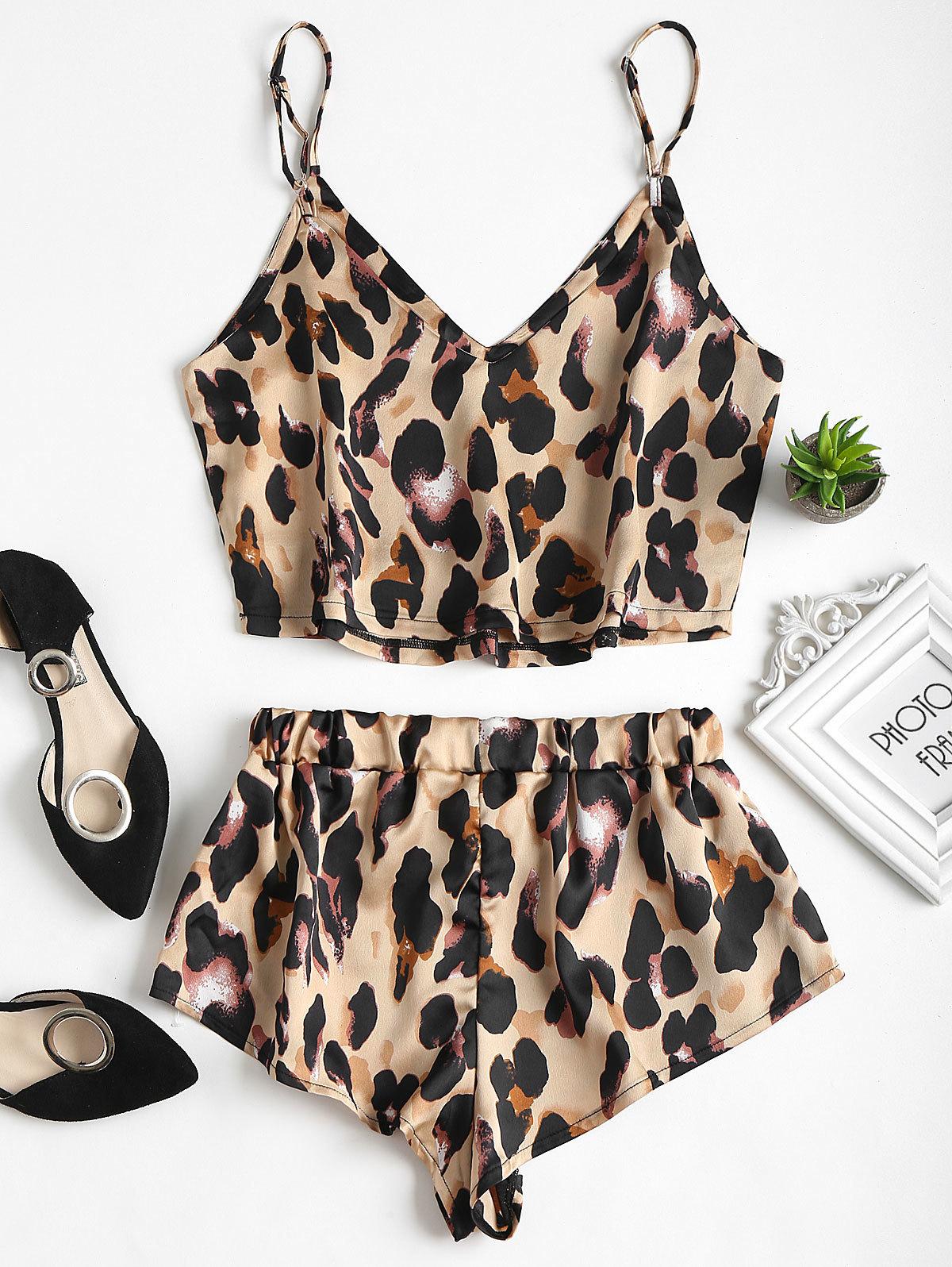 Wipalo Sexy Summer Pajamas Sleepwear Women Sleeveless Spaghetti Strap Nightwear Leopard Print Satin Cami Top Shorts Pajama Sets