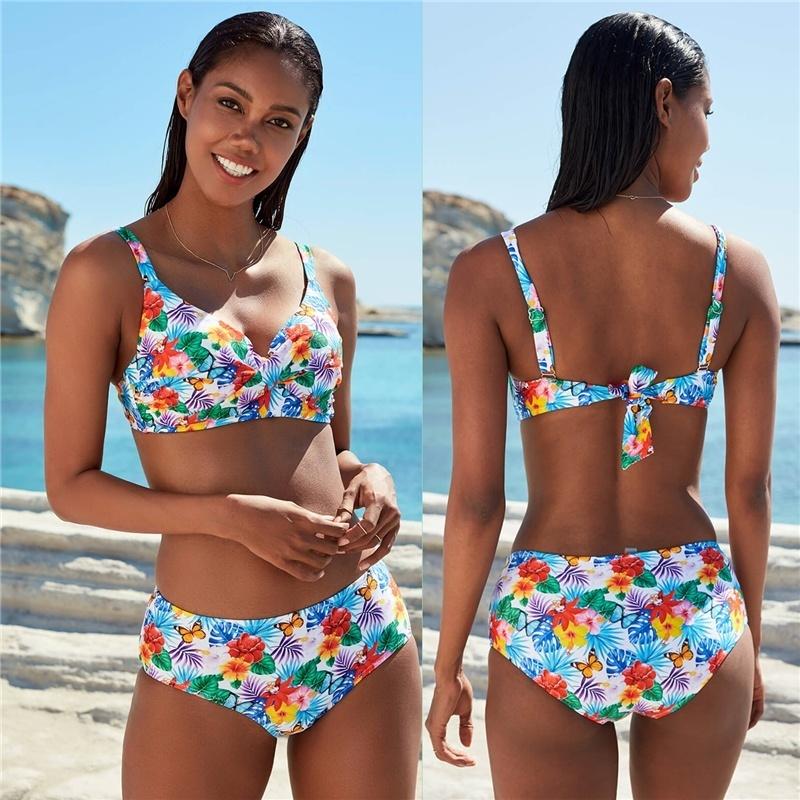Sexy Biquini Estampa Branco Praia Mujer Swimwear Mulheres Swimsuit Terno Feminino 2019 Bikini Set White Beach Wear Push Up LY191224