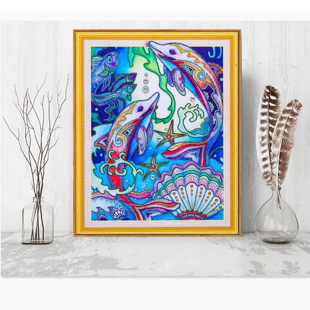 wholesale DIY Diamond Embroidery Dolphin Rhinestone Picture Special Shape 5F Diamond Painting Animal Mosaic Kit 40x50