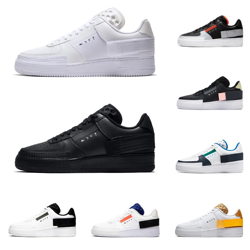2020 nike air force 1 af1 hommes femmes type chaussures de course n354 triple noir Summit blanc Hyper Crimson vert bleu hommes formateur baskets en