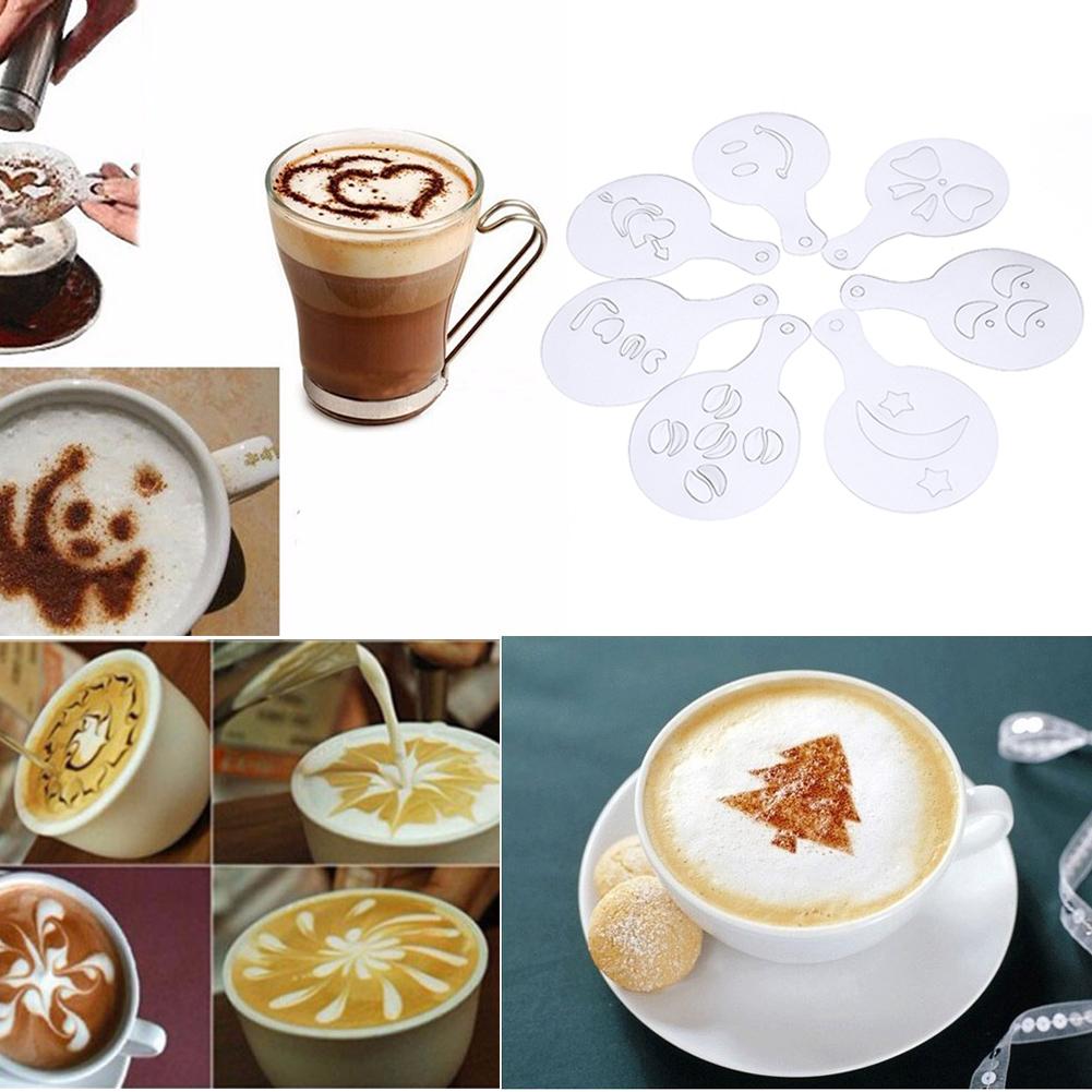 Coffee Milk Cake Cupcake Stencil Template Moldcoffee Barista Cappuccino Template Strew Pad Duster Spray Mold Tool
