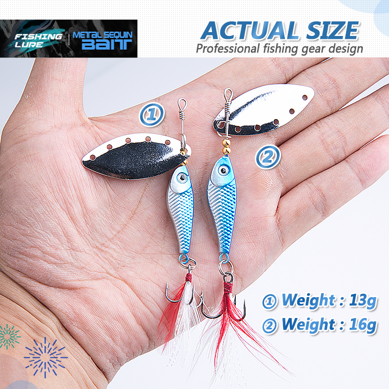 DONQL Spinner Metal Spoon Fishing Lure 13g 16g Sequin Artificial Wobbler Fishing Bait With Strong Treble Hooks Mepps Lures (3)