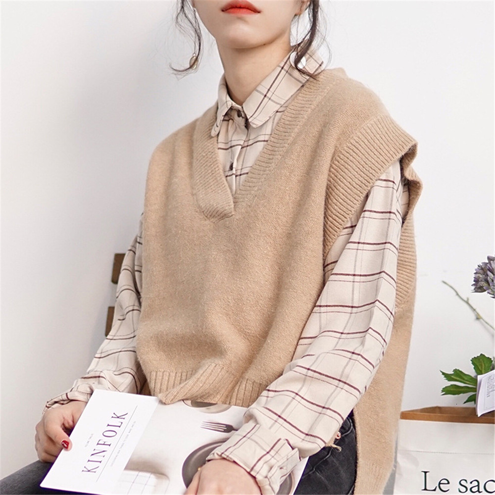 Loose cotton Checkered plaid College blouses shirt Cage female long sleeve Casual women Blouse shirt office lady tops (15)