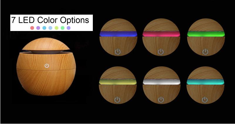 Home Ball USB Aroma Ätherisches Öl Diffusor Ultraschall Luftbefeuchter Luft Mini Luftreiniger 7 Farbwechsel LED Nachtlicht für Office Home