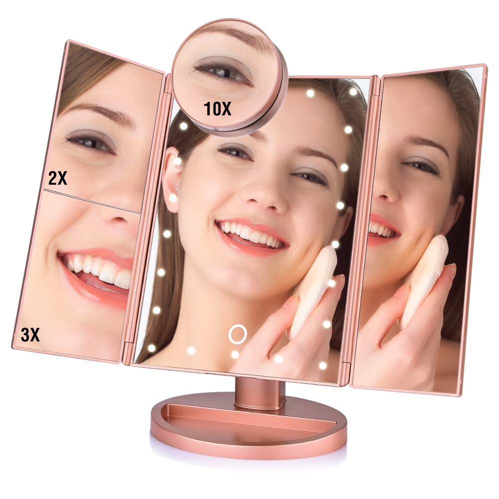 Touch Screen 22 LED Lights Makeup Mirror Tabletop Makeup 3 Folding Vanity Mirror 1X2X3X10X Magnifying Cosmetic Mirrors Gift (2)