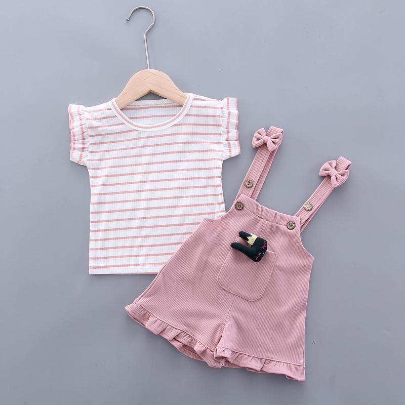 Nuevo verano de los bebés Ropa para niños de rayas camiseta conejo de dibujos animados de la correa de los cortocircuitos / juegos infantil juego ropa de moda de los niños